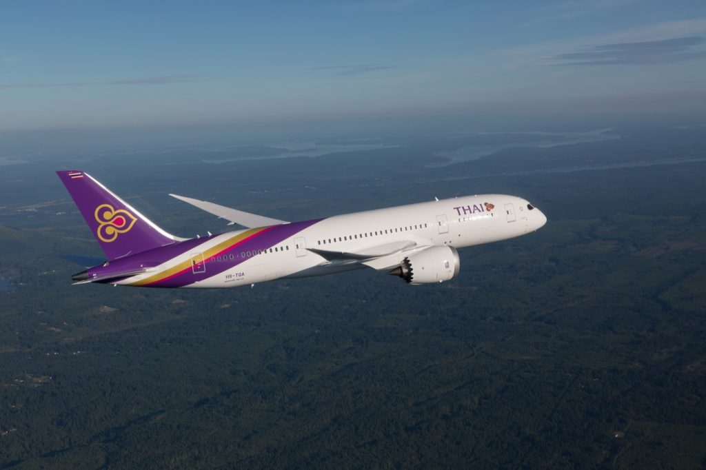 Thai Airways Boeing 787-8 photographed on June 24, 2014 from Wolfe Air Vectorvision Learjet 25B.