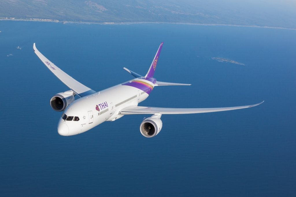Thai Airways Boeing 787-8 Dreamliner, photographed on June 22, 2014 from Wolfe Air Vectorvision Learjet